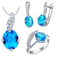 Wholesale Semi Precious Silver Rings - XMT222 925 Silver Pendant ring ear Ding Austria crystal set micro inlaid semi precious stones 18K