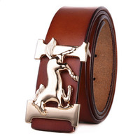 Wholesale Western Fashion For Women - New Men Designer Genuine Leather Belts High Quality Golden Horse Belt H Buckles luxury brand designer belt For Men Western Cowboy Cinturones