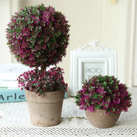 Wholesale Indoor Potted Trees - 2PCS MOQ FREE SHIPPING Elagant Purple Cute Emulational Flower Pot Plant Lucky Tree&Ball For Wedding Birthday Party Indoor Table Decoration