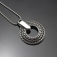 Wholesale Vintage Silver Chain Necklace - Vintage Silver Necklace Classic Basic Round Pendant Bear Chain Necklaces Fashion Stainless Steel Womens Necklace Punk Jewelry