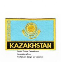 Wholesale Clothing Kazakhstan - Kazakhstan Flag Patches Iron on patches, logo embroidery patches, embroidery patches for clothing, Free Shipping