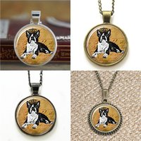 Wholesale crown keyrings - 10pcs Boston Terrier with Crown Dog Jewelry Glass Photo Necklace keyring bookmark cufflink earring bracelet