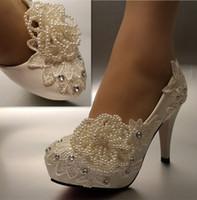 fildişi kristal ayakkabılar toptan satış-Ücretsiz Kargo Yeni Moda beyaz fildişi inci dantel kristal Düğün ayakkabı Gelin topuklar pompaları boyutu 5-11