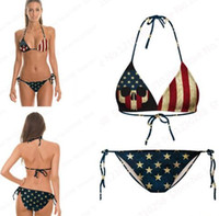 Wholesale Animal Bikini Set - Vintage Bikini Set USA Flag Striped Star Tight American Flag Beach Bikini Two Pieces Bandage Retro Bathing Suits Printed Cheap