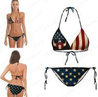 strandstrumpfhosen großhandel-Vintage Bikini Set USA Flagge Striped Star Tight amerikanische Flagge Beach Bikini zwei Stück Bandage Retro Badeanzüge gedruckt billig