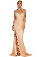 Wholesale Backless Lacy Dresses - CRYG Newest Sexy Party Gowns Nude Yum Lacy spaghetti strap Lace Backless Special Occasion Dresses Vestidos De Festa Long