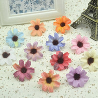 Wholesale Mini Silk Sunflowers - 10pcs lot 3.5cm Retro Silk Sunflower Gerbera Mini Artificial Flowers Head Wedding Decoration DIY Wreath Scrapbooking For Crafts
