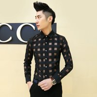 Wholesale Sexy Korea - Wholesale- 2016 Transparent Shirt Mens See Through Shirts Plaid Sexy Club Outfits Slim Fit Grid Asian Fashion Men Korea Clothing Camiseta