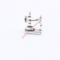 Wholesale Sewing Machine Silver Charms - Wholesale-15pcs Antique Silver Plated Sewing Machine Charms Pendants for Jewelry Making DIY Handmade Craft 15x12mm