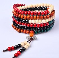 Wholesale 216 Bead Mala - Wholesale-FD2580 new Sandalwood Buddhist Buddha Meditation 216 Prayer Bead Mala Bracelet Chain
