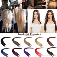 Wholesale High Quality Tape Extensions - High Quality Brazilian Straight tape in Hair Extensions 8A Virgin Hair 20pcs PU skin weft Unprocessed Human Hair Weaves Free Shipping