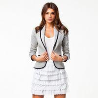 Wholesale Tailor Suit Women - MYRAN White Black High Quality Herringbone Wool Plaid Suits Blazer Suits Lapel Turn-down Collar Tailored Suit Women Coats Blazers