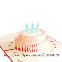 ingrosso torta pop up-Papercraft Pop-Up 3D Birthday Cake Birthday Cards Benedizione carta di carta fatta a mano Creative Birthday Christmas Wedding Gift