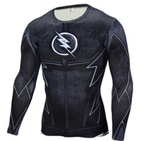 Wholesale Wholesale Slim Fit T Shirt - Wholesale- The Flash Black Panther T Shirt Men 3D Printed T-shirts Fitness Compression Shirt Crossfit Long Sleeve Slim Fit Top Tees Shirt