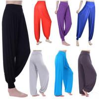 pantalones de yoga danza del vientre al por mayor-2017 mujeres de la moda harem yoga modal sólido cómodos pantalones largos pantalones de danza del vientre pantalones anchos boho buena quanlity