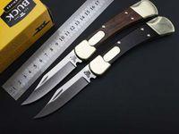Wholesale Buck Lock Blade Knife - Buck 110,Back lock Knife,440C steel, black yellow Sandalwood handle,Folding Blade,Folding knife