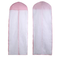 Wholesale bridal wedding clothes - Pink Dust Proof Storage Bags Non Woven Fabric Wedding Dress Cover Resuable Bridal Gown Garment Supplies 5 6ac B R