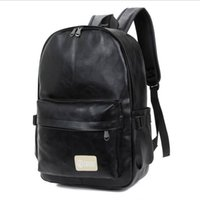 Wholesale Leather Fashionable Backpacks - Hot Selling Large Capacity PU Leather Black Backpack Classic Fashionable Preppy Style Travel Shoulder Bag For School Teenager Student Boys