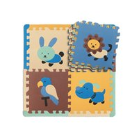 Wholesale Gym Baby Pad - Wholesale- Zoo Animal Printing Baby Toy Kid Game Gym Pad, Children Crawling Eva Foam Puzzle Play Mat 30*30*1.4cm 9Pcs + 12 Lining Set