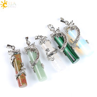 Wholesale Male Jewellery - CSJA Reiki Dragon Wrap Drop Natural Stone Pendant Female Male Jewelry Opal White Crystal Floating Charms Pendulum Amulet Jewellery E181 A