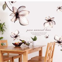 Wholesale Wall Sticker Natural - 60*90cm Dream Flowers Pure Natural Love Wall Stickers DIY Art Decal Removeable Wallpaper Mural Sticker AY9196