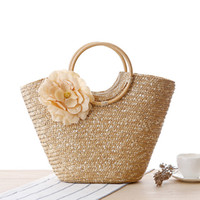48 * 28cm Boho соломенная сумка Летняя пляжная сумка Lady Crochet Basket Handbag Rattan Woven Silk Flower Candy Color Tote Bag Bohemia Style