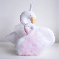 Wholesale 30cm Novelty Soft Pink Lace Crown Swan Plush Toy Cushion Pillow Home Decoration Pillow Baby Appease Doll Kids Toys Girls Gift