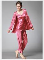 Wholesale Sleepwear Pajama Pants Woman - Lace Pajama Sets pyjamas Women Pajamas set long pants plus size lingerie satin sleepwear for women Nightwear pajamas woman SJYT52