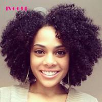 kinky kıvırcık insan saçı satışı toptan satış-Afro Kinky Kıvırcık U Bölüm İnsan Saç Peruk Bob Bakire Moğol Upart Peruk İnsan Saç Dantel Ön Peruk Afro Bukleler Nautral Siyah Satış
