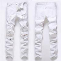 Wholesale Stylish Capris - Wholesale- Fashion Men Stylish Ripped Jeans Pants Biker Classic Skinny Slim Straight Denim Trousers Jeans