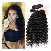 Wholesale Deep Wave Eurasian Hair - Eurasian Virgin Hair luxy cheap virgin unprocessed deep wave curly Human Hair Weave bohemian curl weave 4,6bundles lot
