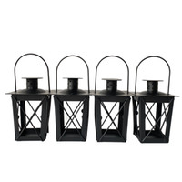 Wholesale Cheap Black color classic style Tea Light Holder Metal candle holder Small Iron lantern candlestick holders gift Wedding decoration