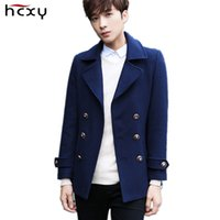 Wholesale Winter Trenchcoat - Wholesale- HCXY brand 2016 Autumn and winter Men 's Wool Coat Windbreaker Male Overcoat Trenchcoat double-breasted elegent fashion casual