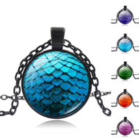 Wholesale Dragon Egg Pendant - Game of thrones green dragon egg glass cabochon dome Pendant necklace Retro Necklace