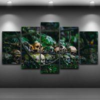painel digital pequeno venda por atacado-Casa Arte Pintura De Parede Na Lona Moderna Selvagem Pequeno Crânios Imagem de Impressão 5 Painel de Quarto Decoração de Parede Pinturas Sem Moldura