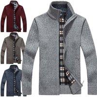 sudaderas de punto al por mayor-New Cardigan Mens Cardigans Knitwear cremallera suéteres cálida sudadera con capucha del paño grueso y suave Sudaderas con capucha para el otoño invierno