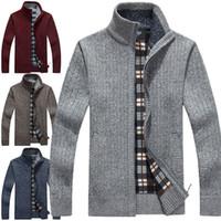camisola de hoodie casual venda por atacado-Novo Cardigan Cardigans Malhas Camisolas Com Zíper de Inverno Quente Fleece Hoodie camisola Casuais Hoodies Para O Outono Inverno