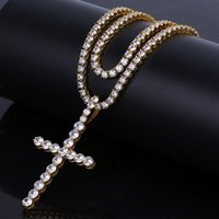 Wholesale 4mm Gold Chain - 4mm AAA Cubic Zirconia Long Cross Necklace Tennis Link Chains 1 row Hip Hop CZ Stone Prayer Necklaces Men Women Jewelry 20''24''