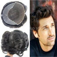 Wholesale natural hair toupees for sale - Group buy 8A best quality inch natural black virgin peruvian hair loose wave Q6 base men hair toupee