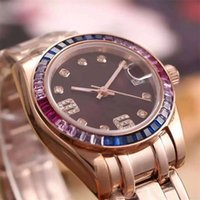 Wholesale 18k Gold Watches For Women - Top Brands Automatic mechanical watch for women Luxury color Pearl diamonds 18K Rose gold Womens Fashion casual watches ladies wristwatches