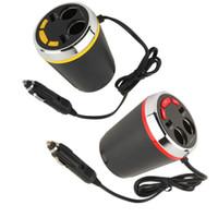 Wholesale car cigarette lighter usb mp3 player online - CUP Car Charger MP3 Player Bluetooth Car Kit FM Transmitter HandsFree Cigarette Lighter Adapter Splitter dual port car charger