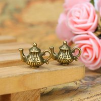 Wholesale Teapot Rhinestones - 15*12mm Vintage Ancient Bronze Tone Teapot Charm Pendants For DIY Jewelry Making Findings Handmade Crafts Accessories
