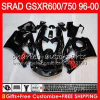 Wholesale 98 Gsxr Fairings - 8 Gifts 23 Colors For SUZUKI SRAD GSXR750 GSXR600 96 97 98 99 00 5HM1 GSX R600 GSXR 600 750 1996 1997 1998 1999 2000 Gloss black Fairing Kit