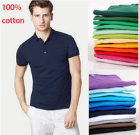 Wholesale Purple Golf Shirts Men - 100% cotton 2017 summer men's short sleeve POLOS shirt men sports casual t shirt golf shirts US SIZE XS-4XL