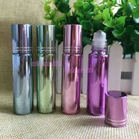 Wholesale Wholesale Glass Bottles Engraved - Colorful 10ml Empty Refillable Glass Roll On Bottles with Black Cap Perfect for Aromatherapy Perfumes Essential Oils Lip Gloss and More DHL