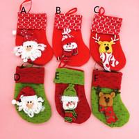 Wholesale mini linen bags resale online - 2017 Hot Sale Christmas Decorations Stocking Christmas gift bag mini cute Christmas socks high colors