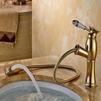 banyo makyaj gemileri toptan satış-Spay Pull Out Ile ücretsiz kargo Altın banyo mikser lavabo bataryası / Tek Delik Havzası Mikser Banyo Musluk Vanity HS 438