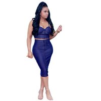 Wholesale Women Breast Strap - Denim Skirt Women 2 Piece Set Fashion Single-breasted Zipper Sexy Spaghetti Strap Crop Tops and Slim Hip Skinny Denim Skirts Set