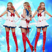 Wholesale Sailor Moon Costumes For Women - 2017 New sailor moon Cosplay Costume Navy sailor suit for women football baby la-la operating performance clothing Free Shipping