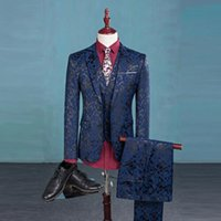 Wholesale Cheap Men S Blazer Jackets - Print Suits For Men Top Quality Slim Blue Figure Pattern 3 Piece Suit(Jacket+Vest+Pants) Stage Show Blazer Men Dinner Suit Cheap
